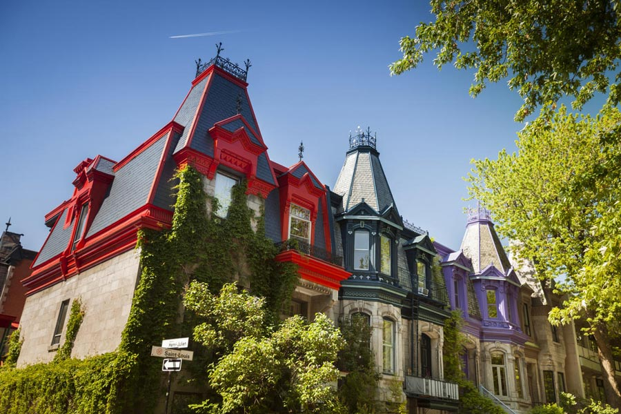 Photo of original painted houses St Louis Square Montreal Quebec Canada